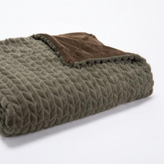 Plaid uni jaune, effet relief damier, tout doux - Amadeus - 130x170cm.