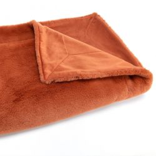 Plaid uni blanc crème, effet relief damier, tout doux - Amadeus - 130x170cm.