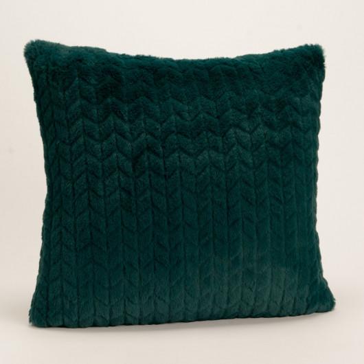 Coussin uni bleu nuit, effet relief damier, tout doux - Amadeus - 40x40cm.