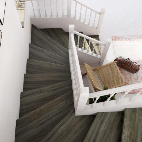 Papier peint vinyle sur intissé trompe l'oeil carreaux de ciment bleu gris - Lutèce