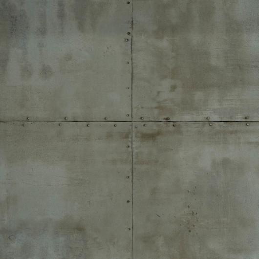 Papier peint intissé PALMETTES art déco blanc et argenté - Rasch 637649