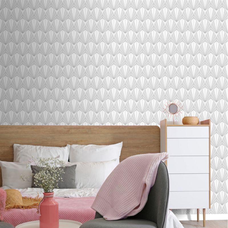 Papier peint grand motif géométrique forme Y en 3D blanc gris - ONYX - UGEPA