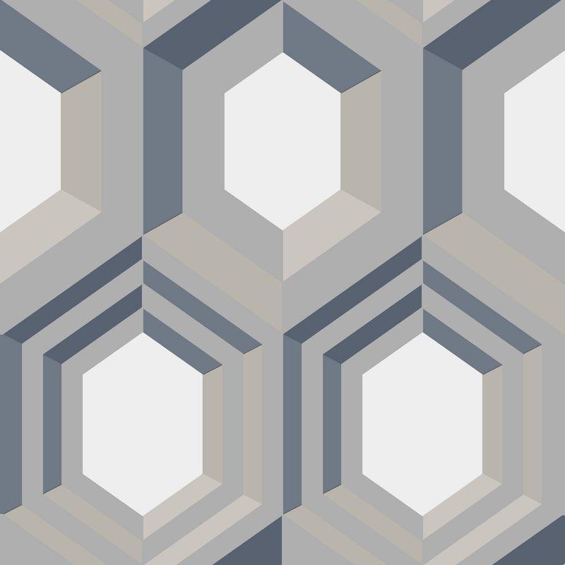 Papier peint motif géométrique bois 3D marron - ONYX - UGEPA