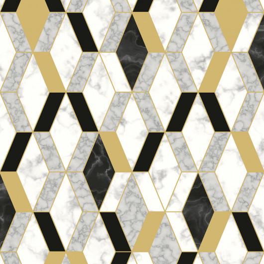 Papier peint motif géométrique bois blanc 3D - ONYX - UGEPA